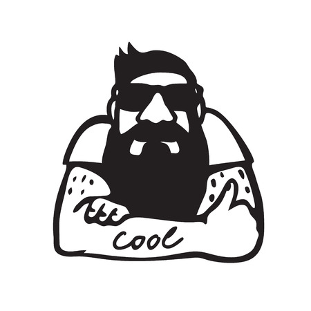 bearded man: Vector illustration: Bearded man in sunglasses giving a thumb up as a sign of approval, like sign Illustration