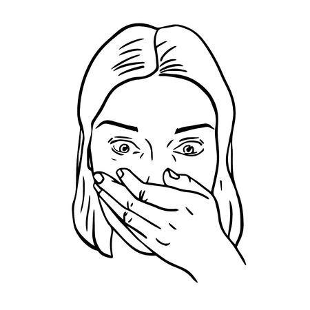 Portrait de femme surpris ou étonné. Bouche recouverte de main. Vector illustration