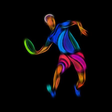 ultimate: Sportsman throwing frisbe. Ultimate sport clipart, color illustration on black background Stock Photo
