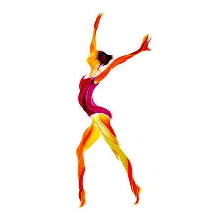 Creative silhouette of gymnastic girl. Art gymnastics, color art illustration