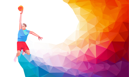 jump shot: Polygonal geometric professional basketball player on colorful low poly background doing jump shot with space for flyer, poster, web, leaflet, magazine. Vector illustration