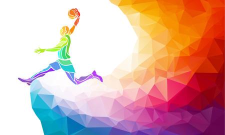 チラシ、ポスター、web、チラシ、雑誌のためのスペースでジャンプ ショットを行う低温ポリのカラフルな背景に多角形の幾何学的なプロバスケット