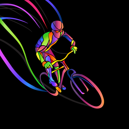 trait: Professional cyclist involved in a bike race. artwork in the style of paint strokes. illustration Illustration
