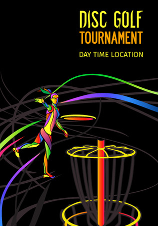 Disc golf sport, flying disc Frolf invitation poster or background with female sportsman silhouette and empty space, vertical align banner template 向量圖像