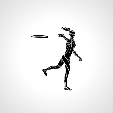 flying disc: Female player is throwing flying disc. Silhouette of disc golf player. lineart illustration