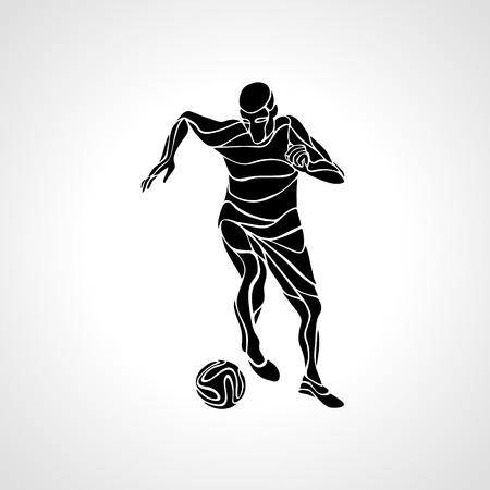 kicks: Soccer player kicks the ball. Black silhouette abstract illustration on white background.