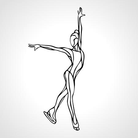 winter sport: Winter sport. Ladies figure skating black silhouette.  Ice show. illustration