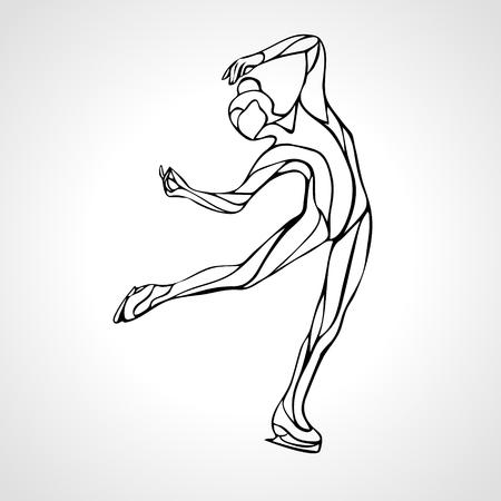 Winter sport. Ladies figure skating silhouette. Ice show. illustration