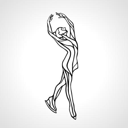 pirouette: Winter sport. Ladies figure skating silhouette.  Ice show. illustration Illustration