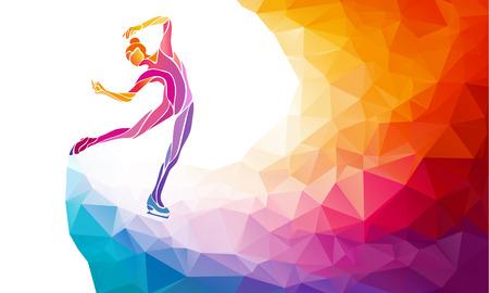 silueta de la chica creativa de patinaje sobre hielo. espectáculo sobre hielo, ilustración vectorial colorido con el fondo o plantilla banner en estilo de moda abstracta de colores del arco iris polígono y vuelta