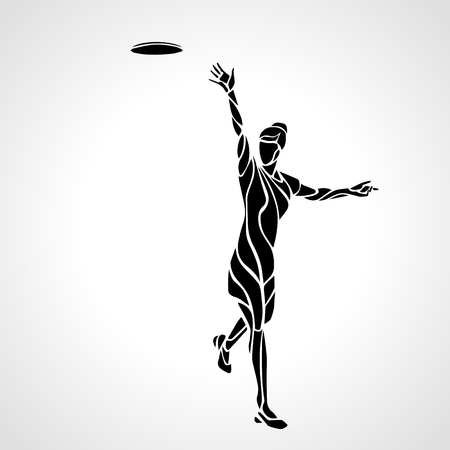 brand activity: Female player is throwing flying disc. Silhouette of disc golf player. lineart illustration