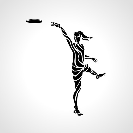 disc golf: Female player is throwing flying disc. Silhouette of disc golf player. lineart illustration