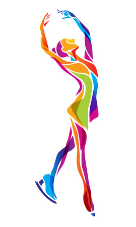 illustration of cartoon skating girl. Ladies figure skating. Color figure ice skating silhouette