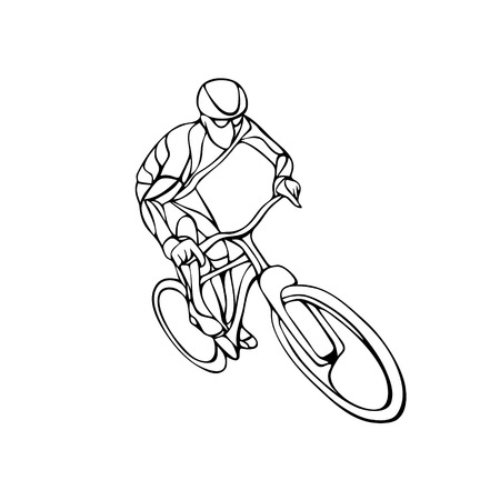 mountain silhouette: Abstract creative silhouette of bicyclist. Black cyclist wave style . illustration of bike