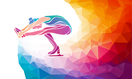 skating on thin ice: Creative silhouette of ice skating girl. Ice show, colorful illustration with background or template in trendy abstract colorful polygon style and rainbow back