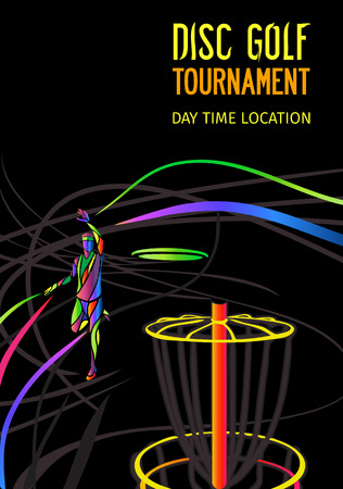 Disc golf sport, flying disc Frolf invitation poster or background with sportsman silhouette and empty space, vertical align template