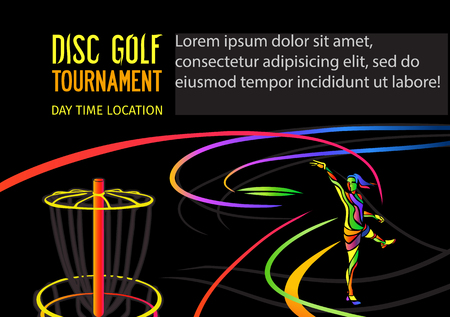 Disc golf sport, flying disc Frolf invitation poster or background with sportsman silhouette and empty space, horizontal align