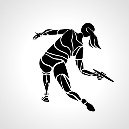 Female player is throwing flying disc. Silhouette of disc golf player. lineart illustration
