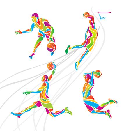 baloncesto: recogida de los jugadores de baloncesto. Conjunto de 4 jugadores de baloncesto abstracto multicolor Vectores