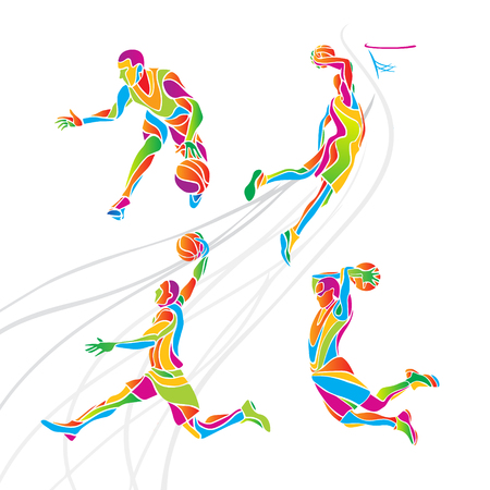 Basketball players collection . Set of 4 abstract multicolor  basketball players