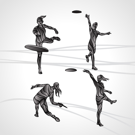 disc golf: Collection of 4 Female players are throwing flying disc. Silhouettes of disc golf players. lineart illustration