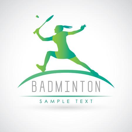 Badminton sports . Silhouette of professional female badminton player. illustration