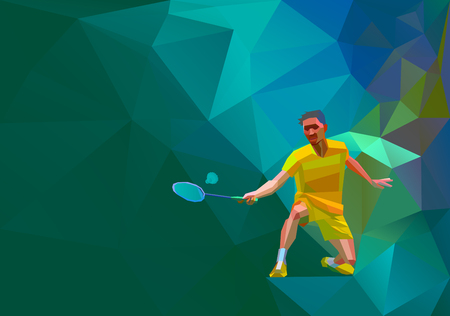 smash: Polygonal geometric professional badminton player on colorful low poly background doing smash shot with space for  poster, web, leaflet, magazine. illustration