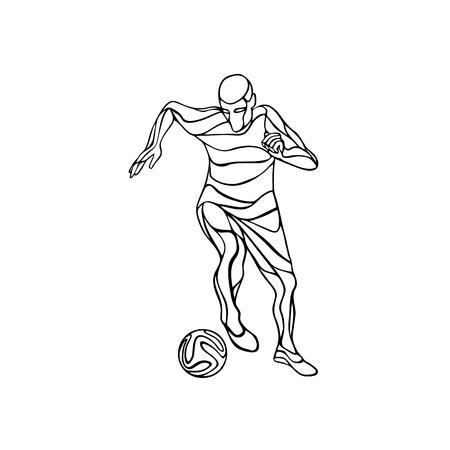 kicks: Soccer or football player kicks the ball. Abstract line art silhouette. Illustration on white background. Illustration