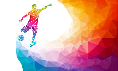 Creative soccer player. Football player kicks the ball, colorful illustration with background or template in trendy abstract pectrum polygon style and rainbow back