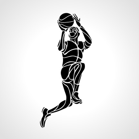 basketball dunk: Basketball player. Slam Dunk Silhouette. illustration Illustration