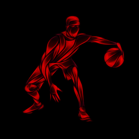 dribbling: Basketball player Red Glow Silhouette. Creative abstract crossover dribbling illustration on black background
