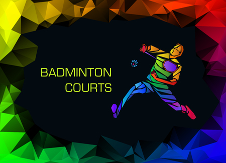 Sports poster with badminton player colorful on dark background. Trendy polygons, illustration Çizim
