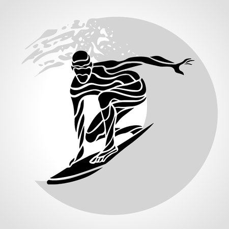 Creative silhouette of surfer. Isolated surfing man with wave - clipart illustration