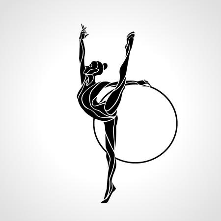 Gimnasia rítmica con el aro de la silueta en negro sobre fondo blanco. Foto de archivo - 53927642
