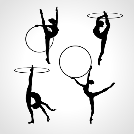 Collection 4 Creative silhouettes of gymnastic girls with hoop. Art gymnastics set, black and white illustration Vettoriali