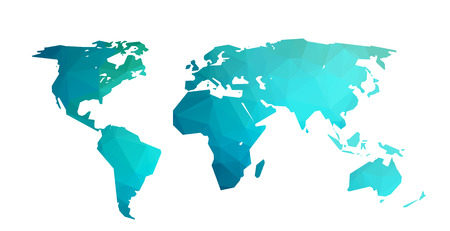 World map blue illustration in polygonal style on white background