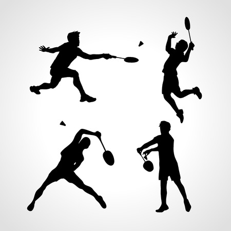 バドミントン選手のシルエットのセット。男性シルエット バドミントンします。スポーツマンのコレクションです。図  イラスト・ベクター素材