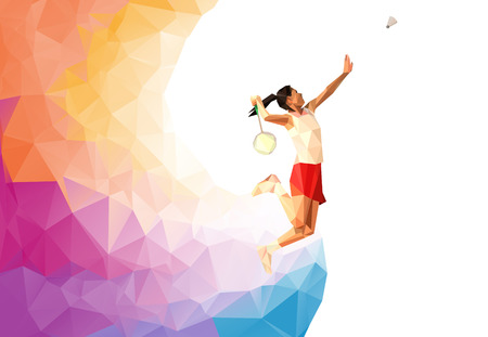 sport woman: Unusual colorful triangle background: Geometric polygonal professional badminton player,  during smash
