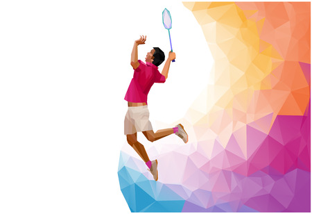 badminton: Unusual colorful triangle shape: Geometric polygonal professional badminton player, during smash isolated on white background