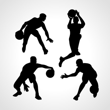 Basketball players collection . 4 silhouettes of basketball players set