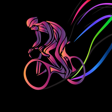 overtone: Professional cyclist in a bike race. artwork in the style of paint strokes on black background. illustration