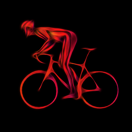 overtone: Professional cyclist in a bike race. Color artwork in the style of paint strokes on black background.