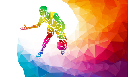 Polygonal geometric professional basketball player on colorful low poly background doing jump shot with space for poster, web, leaflet, magazine. Vector illustration
