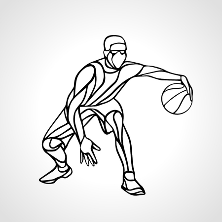 crossover: Basketball player abstract silhouette. Crossover dribble.