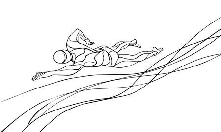 El nadador de estilo libre de la silueta Línea arte. deporte de la natación, estilo crol. Atleta profesional de la natación Ilustración