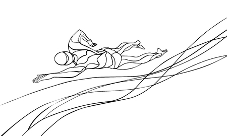 Freestyle Swimmer Line Art Silhouette. Sport swimming, front crawl. Professional Swimming Athlete Illustration