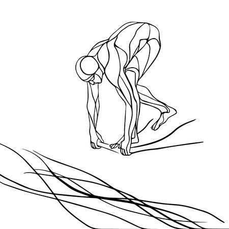 The professional swimmer starts to dive on the competition. black and white silhouette illustration on white background