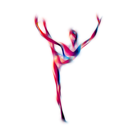 flexible woman: Creative silhouette of gymnastic girl. Art gymnastics woman, illustration or template in trendy abstract colorful neon waves style on white background