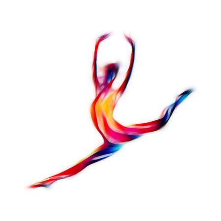 Creative silhouette of gymnastic girl. Art gymnastics woman, illustration or banner template in trendy abstract colorful neon waves style on white background
