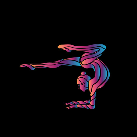 acrobatic: Creative silhouette of gymnastic girl. Art gymnastics woman, illustration or template in trendy abstract colorful neon waves style on black background